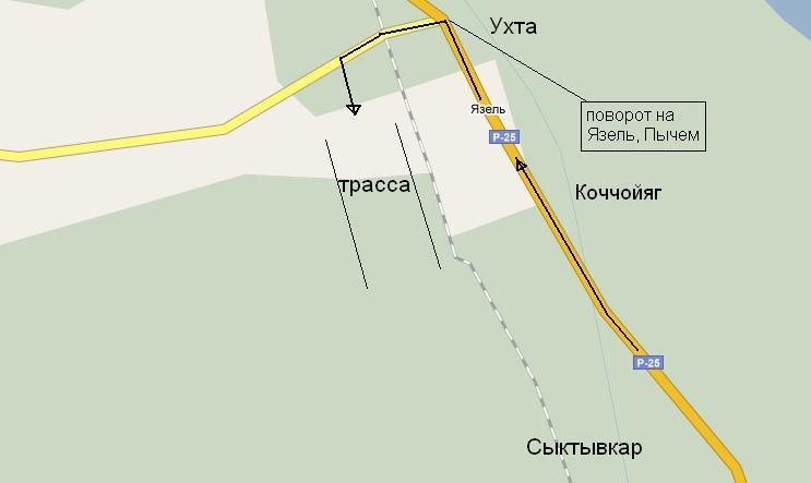 Карта проезда к месту драга м. Язель